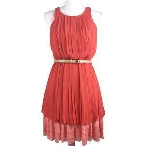Jessica Simpson Red & Pink Pleated Dress